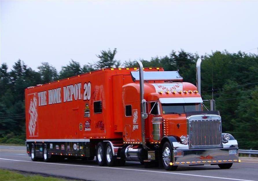 Peterbilt, Home Depot, NASCAR, Gibbs Racing Transporter, Hauler