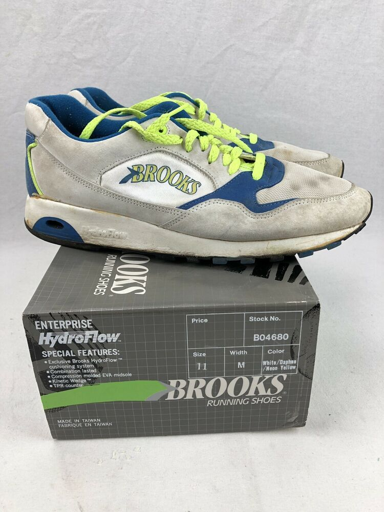 Vintage Brooks Hydroflow Running Shoes Men S 11 Bo4680 White Daphne Neon Yellow Brooks Athletic Running Shoes For Men Brooks Running Shoes Running Shoes