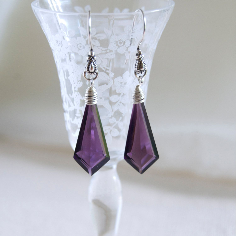 Dark Amethyst Glass Earrings Marquise Cut Marquise Earrings Sterling Silver Wire Wrapped Purple Earrings  Faceted Glass February Birthday by ElektraJewelry on Etsy