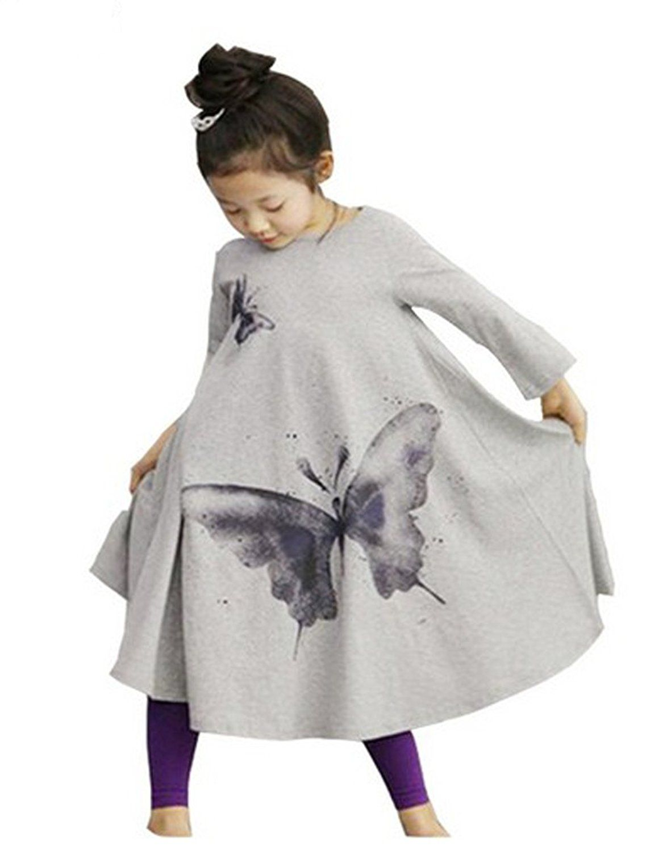 Amazon bellelili girls casual long sleeve butterfly print maxi