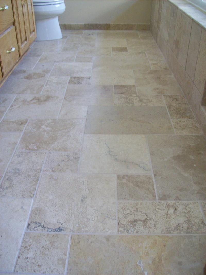 Enjoyable Bathroom Using Cream Natural Stone Floor Tile In Cream