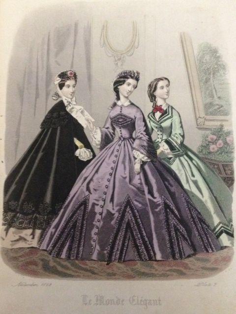 1862 fall fashion plate. That purple dress is fun!