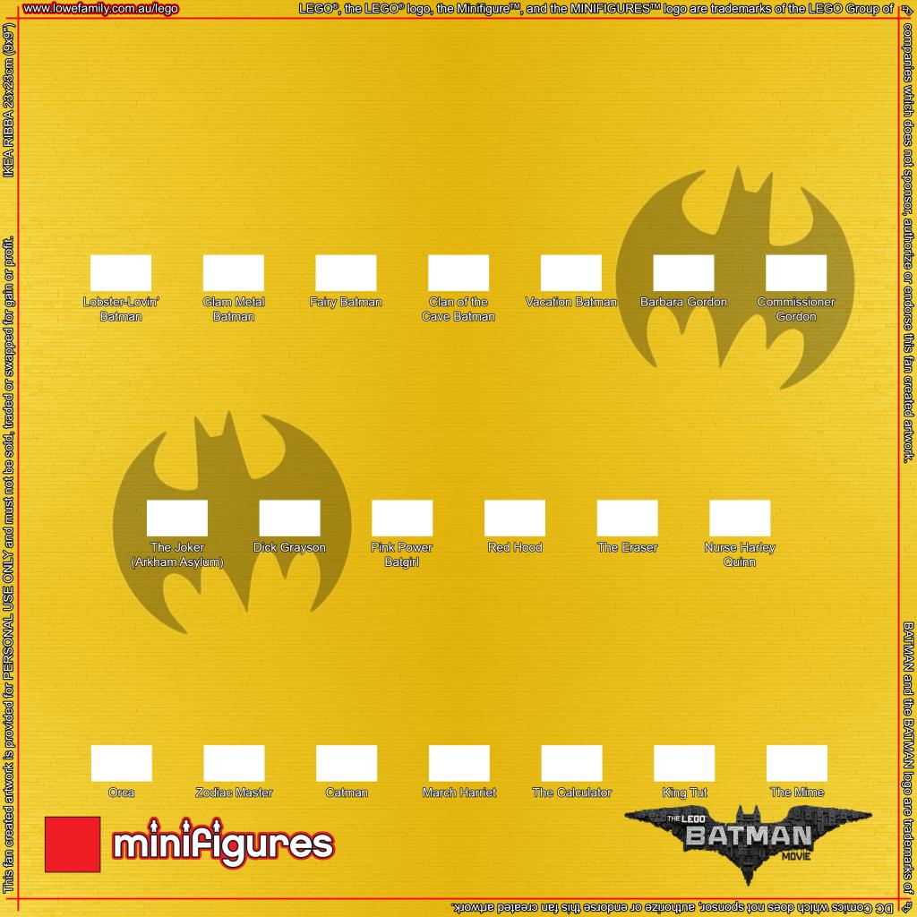 LEGO Minifigures Batman Movie Series Background for Ikea Ribba Frame ...