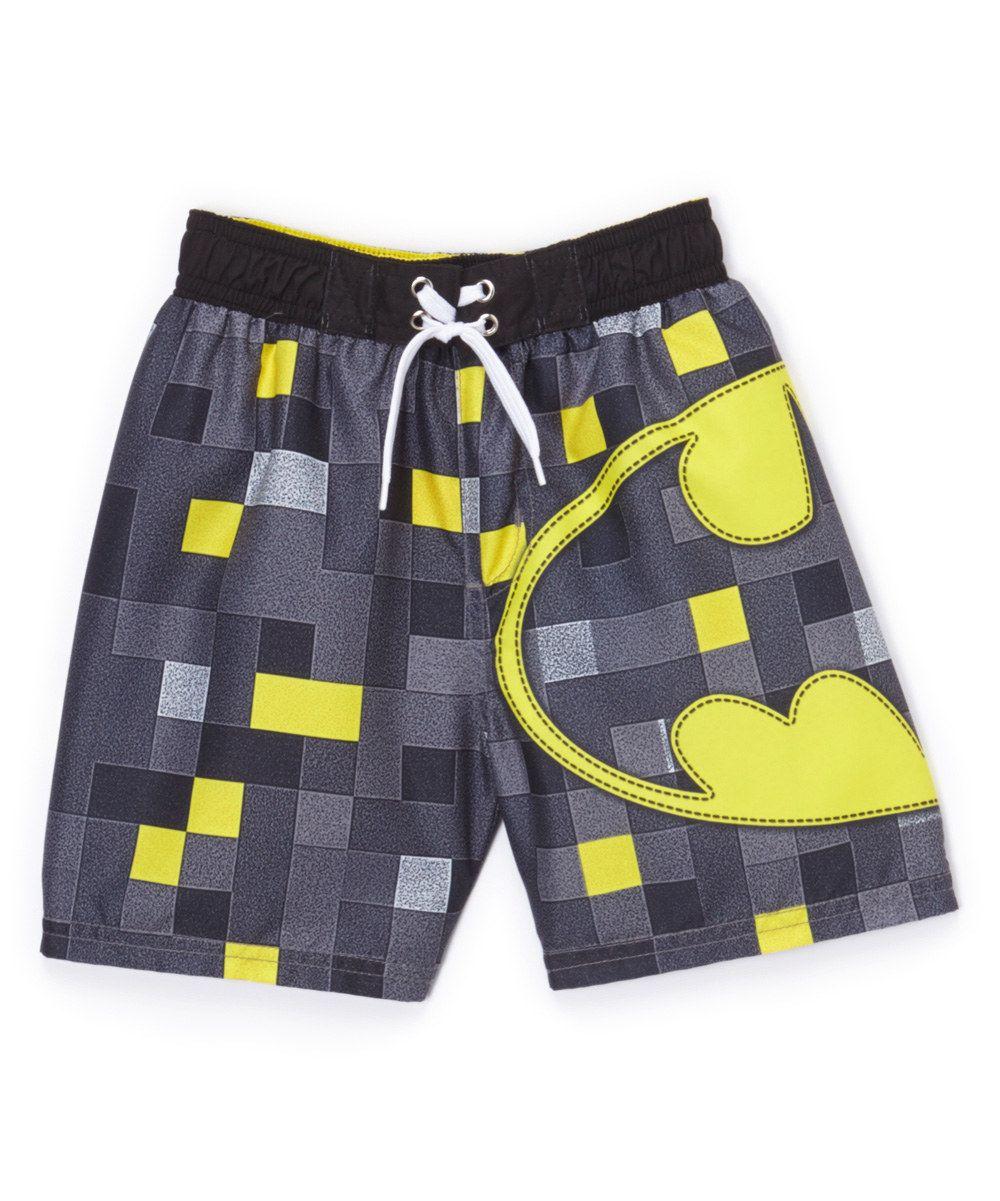 Look at this Gray Batman Logo Swim Trunks - Boys on #zulily today!