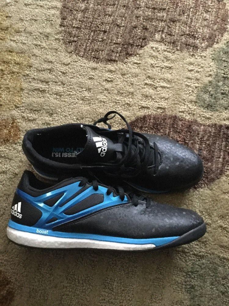 b0a10a622 Adidas Messi 15.1 Boost B24586 Black Blue Indoor Soccer Shoes Mens 8.5M