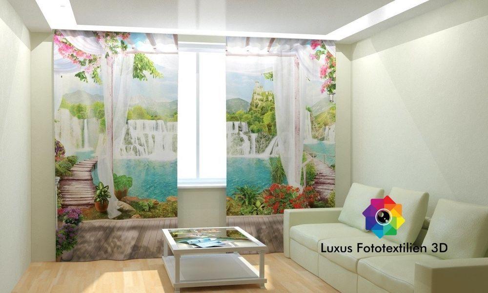 fotogardinen 3d wasserfall fotovorhang gardinen vorh nge. Black Bedroom Furniture Sets. Home Design Ideas