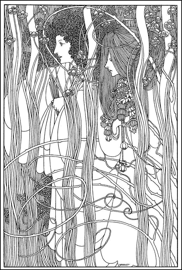 Will bradley art nouveau women - Art Nouveau Coloring ...