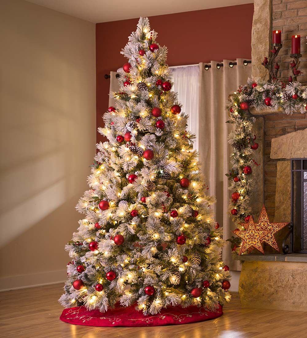 Fairfax Lighted Decorated Christmas Tree With Flocking, 9