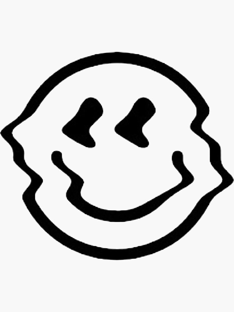 Distorted Smiley Face Black And White Sticker By Eliota Black And White Stickers Tattoo Flash Art White Stickers