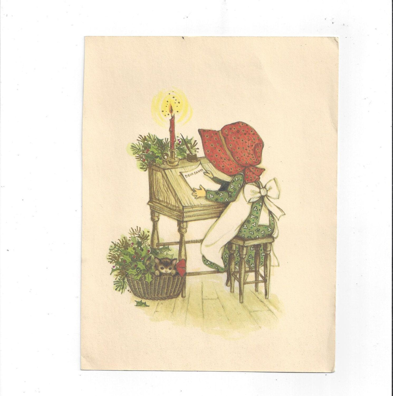 S Vintage Holly Hobbie Christmas Greeting Front Of Card Dear
