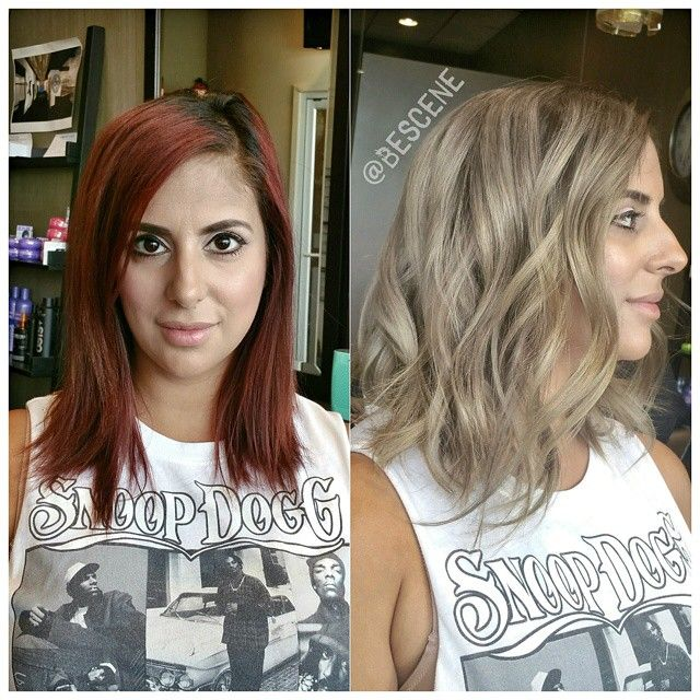 Linh Phan On Instagram Transformation From Permanent Red Violet To A Dimensional Ash Blonde Balayage On Red Blonde Hair Ash Blonde Balayage Ash Hair Color