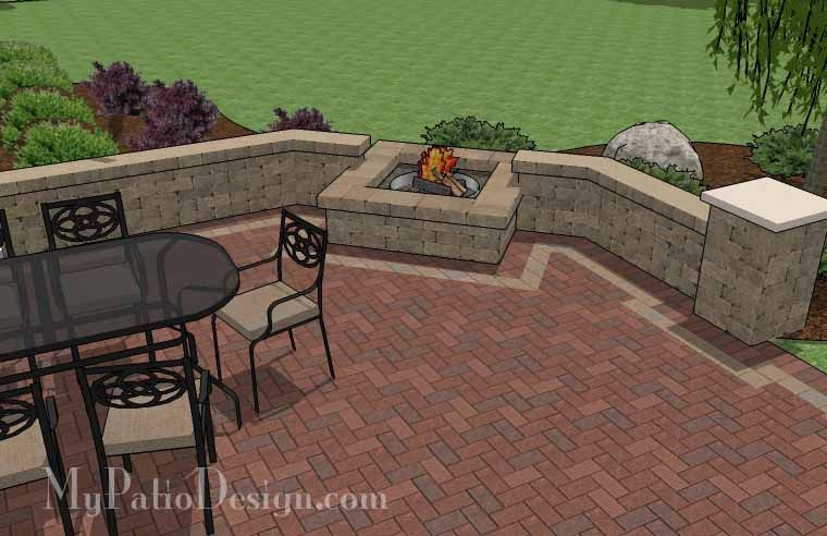 Backyard Brick Patio Design With Seating Wall And Fire Pit | Plan No.  1148rr |