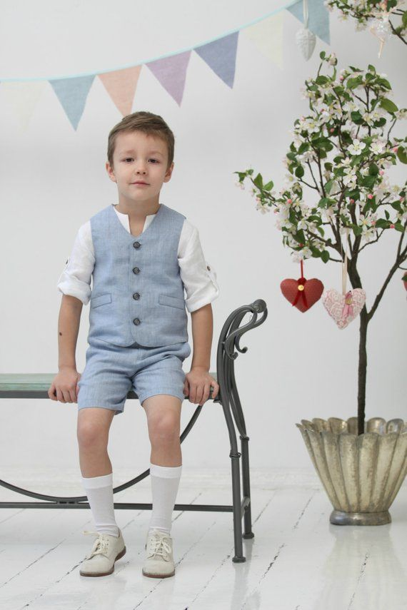 fd544fa1945 Boys linen suit Ring bearer suit Toddler boy vest and shorts Wedding party  outfit Family Photo Bapti