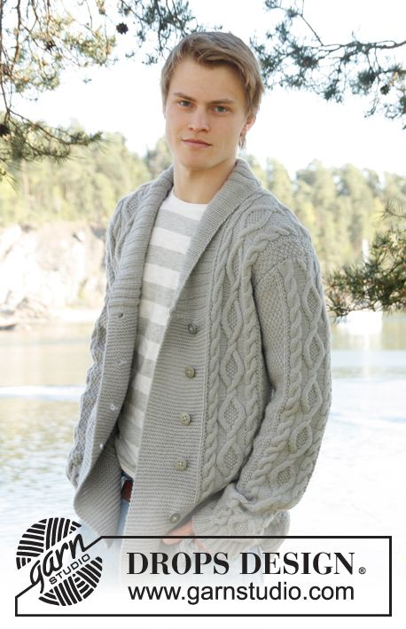 "Knitted DROPS men's jacket with cable pattern and shawl collar in ""Lima"". Size: S - XXXL."