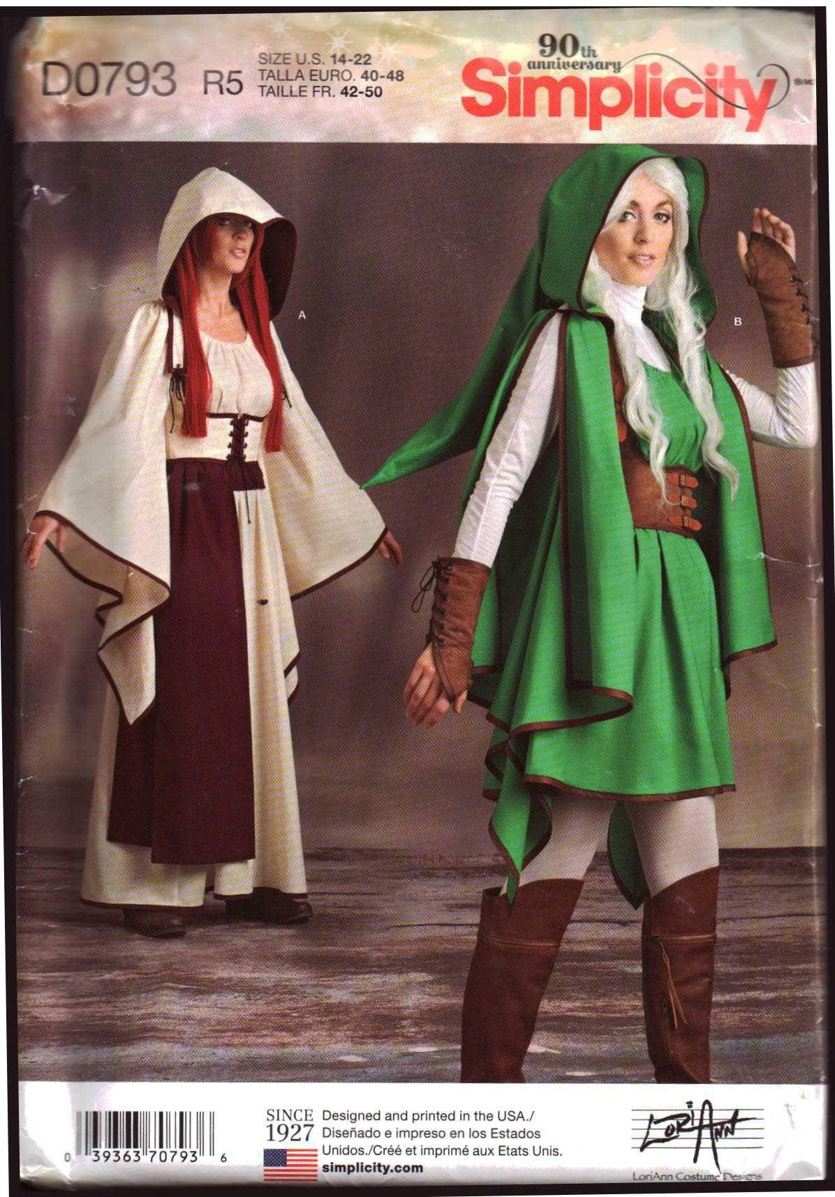 Simplicity D0793 Zelda Costume Size R5 1422 Uncut Sewing