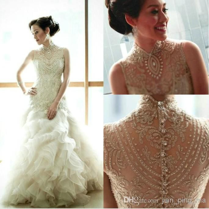 2014 Veluz Reyes Crystal Wedding Dresses High Collar Transparent Back Cover Button Layers Botom With Sweep