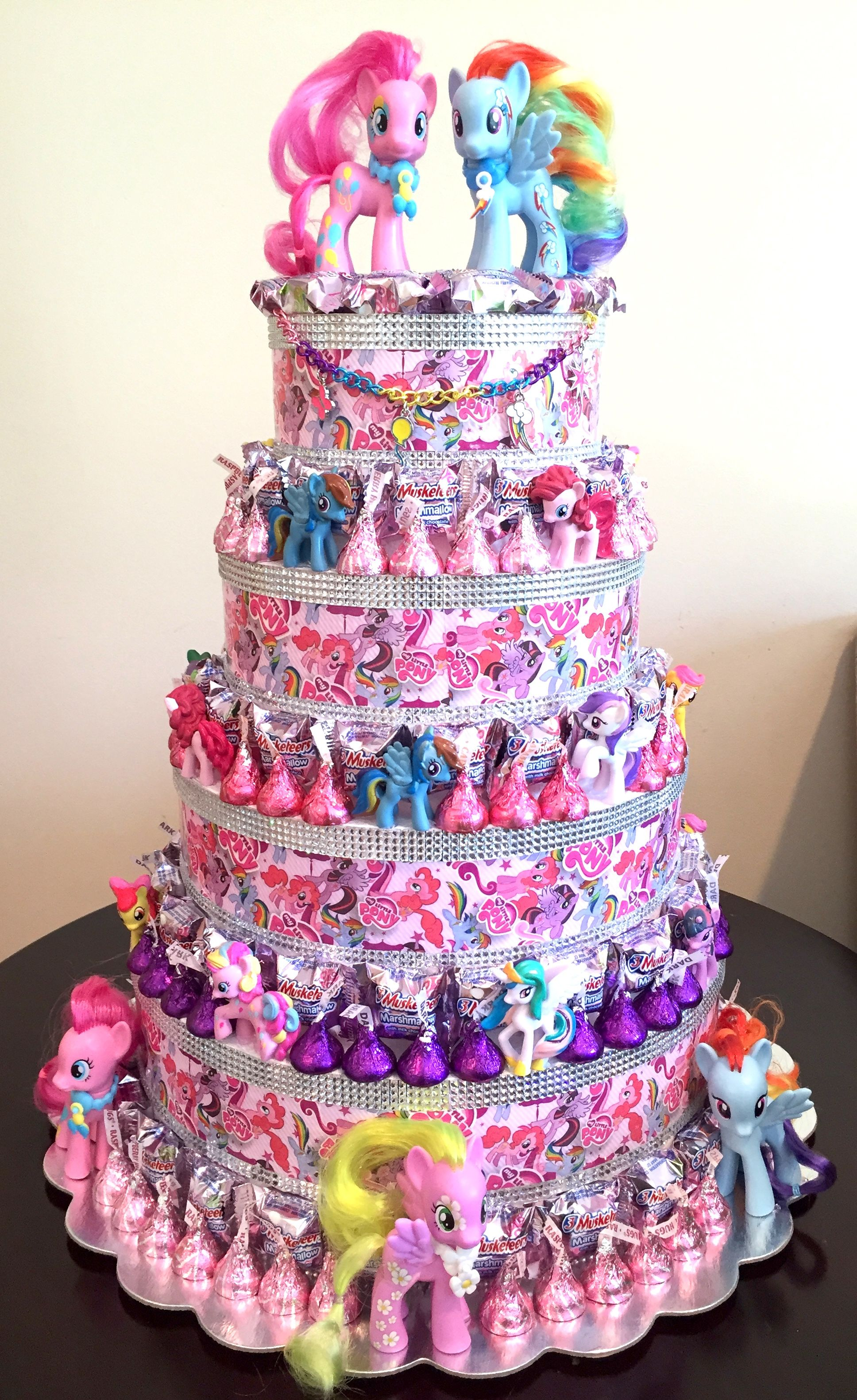 My little pony party candy cake centerpieces by