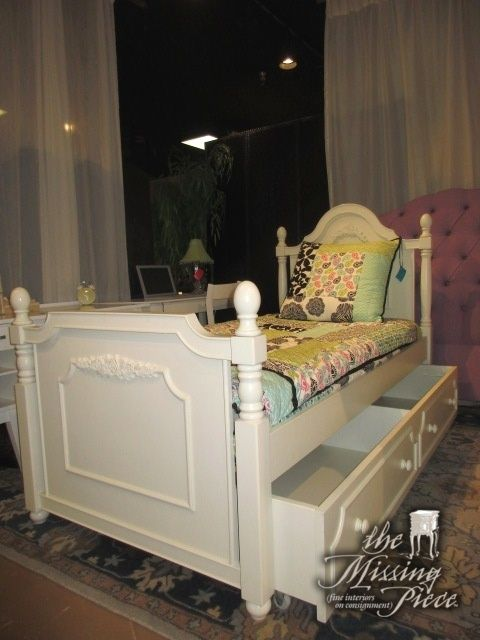 Best Cafe Kid Twin Trundle Bed In Cream The Trundle Is Divided 400 x 300