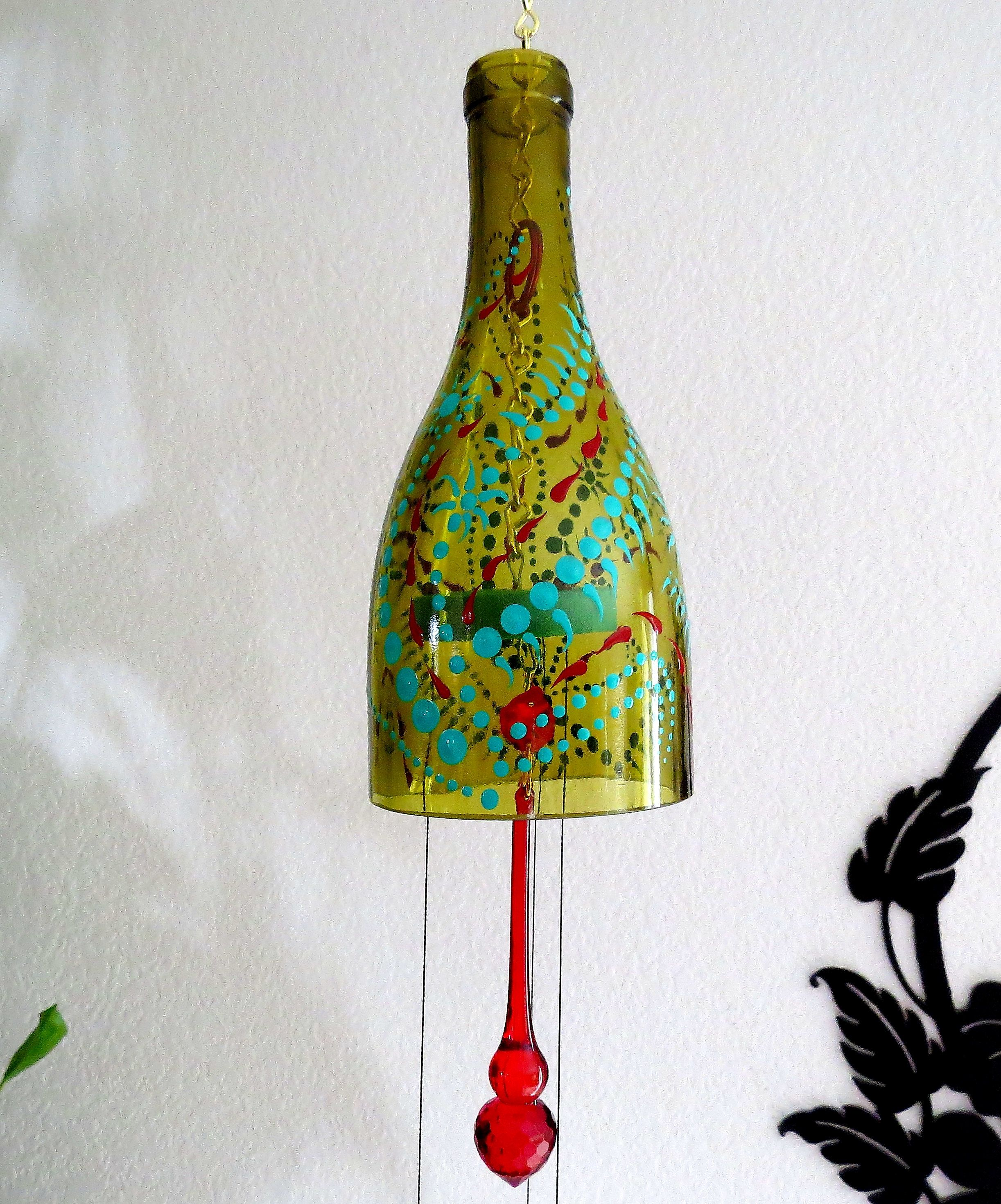 Recycled Bottle Wind Chime Amber Wine Bottle Yard Art Glass