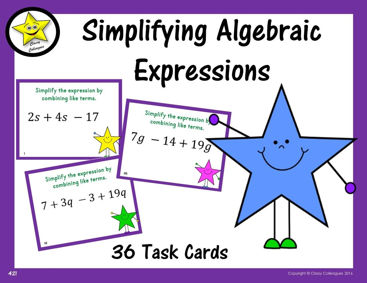 Simplifying Expressions Game Simplifying Expressions Activities Like Terms Combining Like Terms