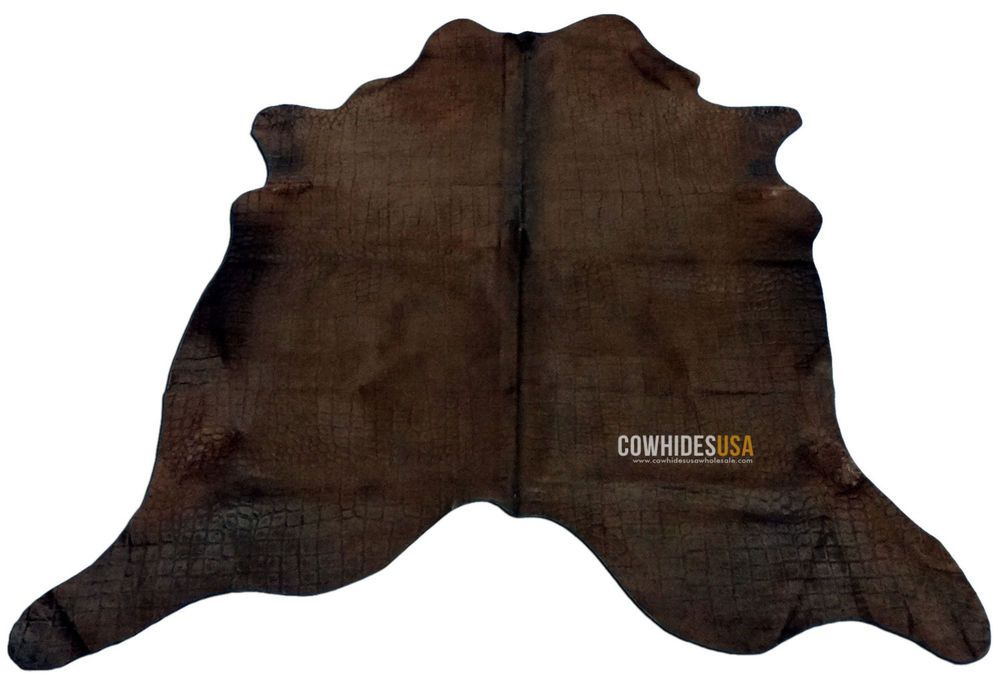 Dyed Chocolate Cowhide Rug Size 6 X 6 5 Embossed Crocodile Skin Design C 764 Deluxecowhides Contemporary Cow Hide Rug Crocodile Skin Cowhide