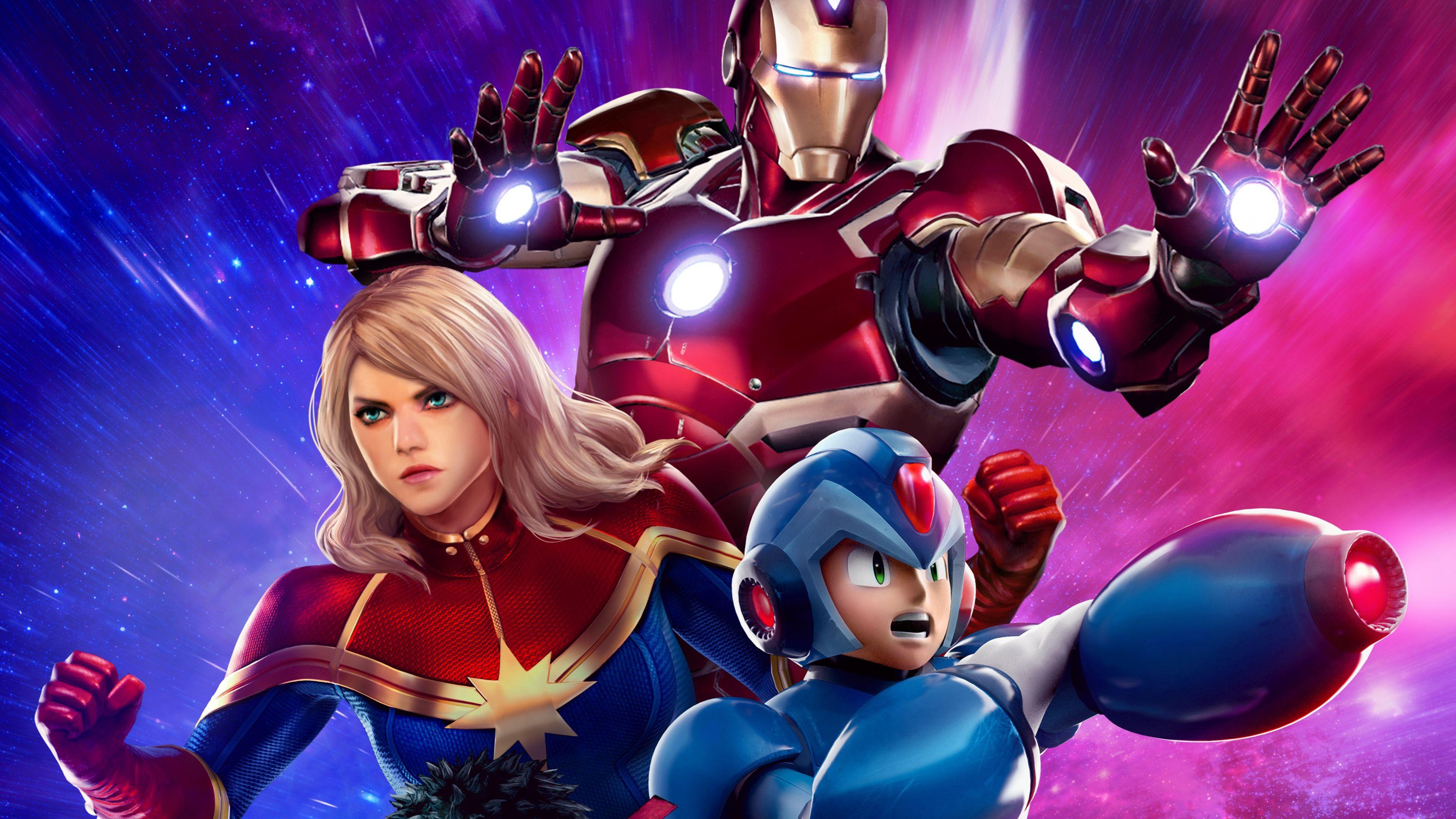 Awesome Iron Man Captain Marvel Mega Man 4k Marvel Vs Capcom