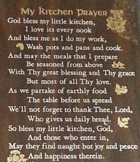 Kitchen Prayer by M. Peterson 1944/1972
