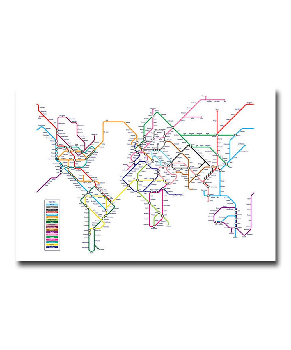 World map subway gallery wrapped canvas koo koo for creation world map subway gallery wrapped canvas gumiabroncs Image collections