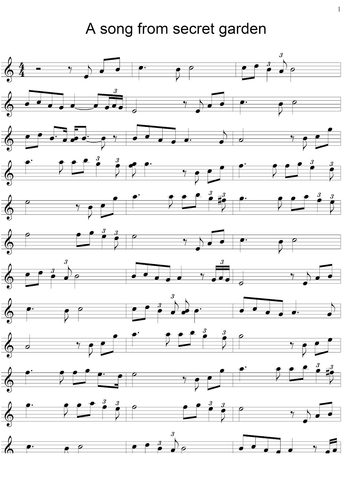 Note From Secret Garden For The Piano Fur elise sheet