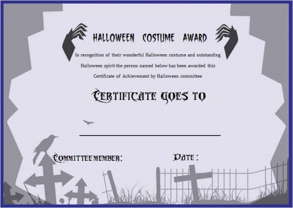 Halloween Bes Costume Certificate Template Halloween Costume