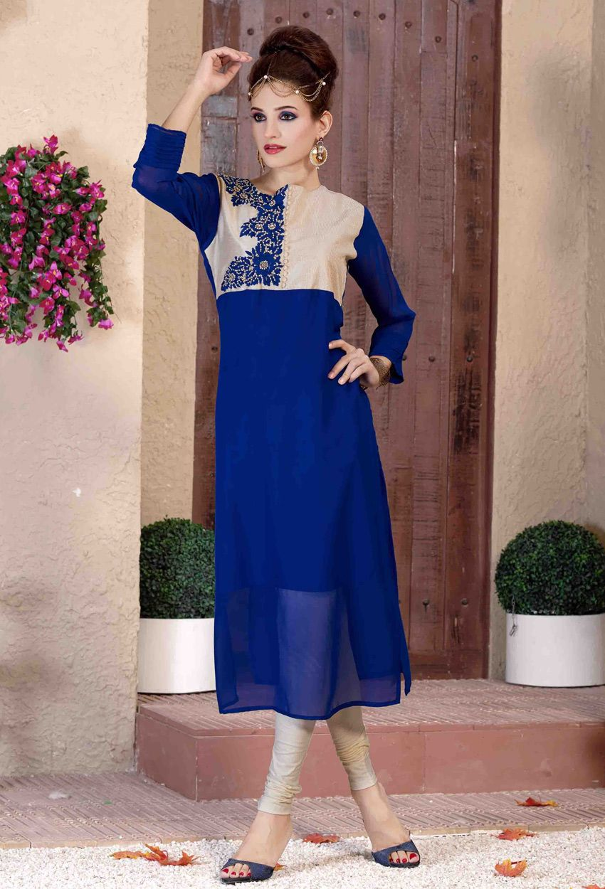 8e33e1c7f8 #Readymade Blue And #Cream #Georgette #Kurti #nikvik #usa #designer # australia #canada #tunics