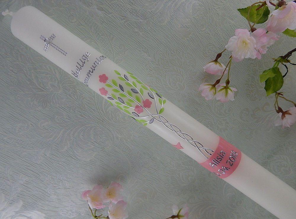 Kommunionkerze Taufkerze Mädchen grün pink