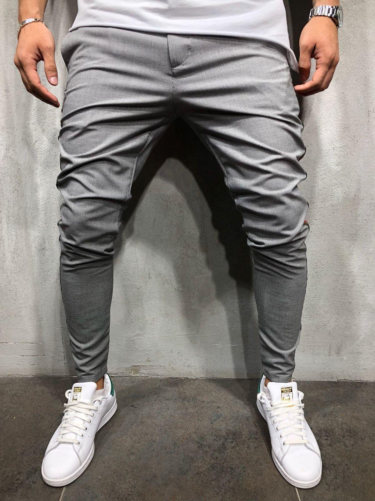 1dacead9c Men's Fashion – How to Nail Office wear. Herringbone Ankle Pants Side  Stripes - Gray . . . . #stripedpants #streetwearstyle #trouserspants