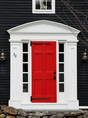 Red Door Grey House our house will have slate colored shale to replace the brick, and