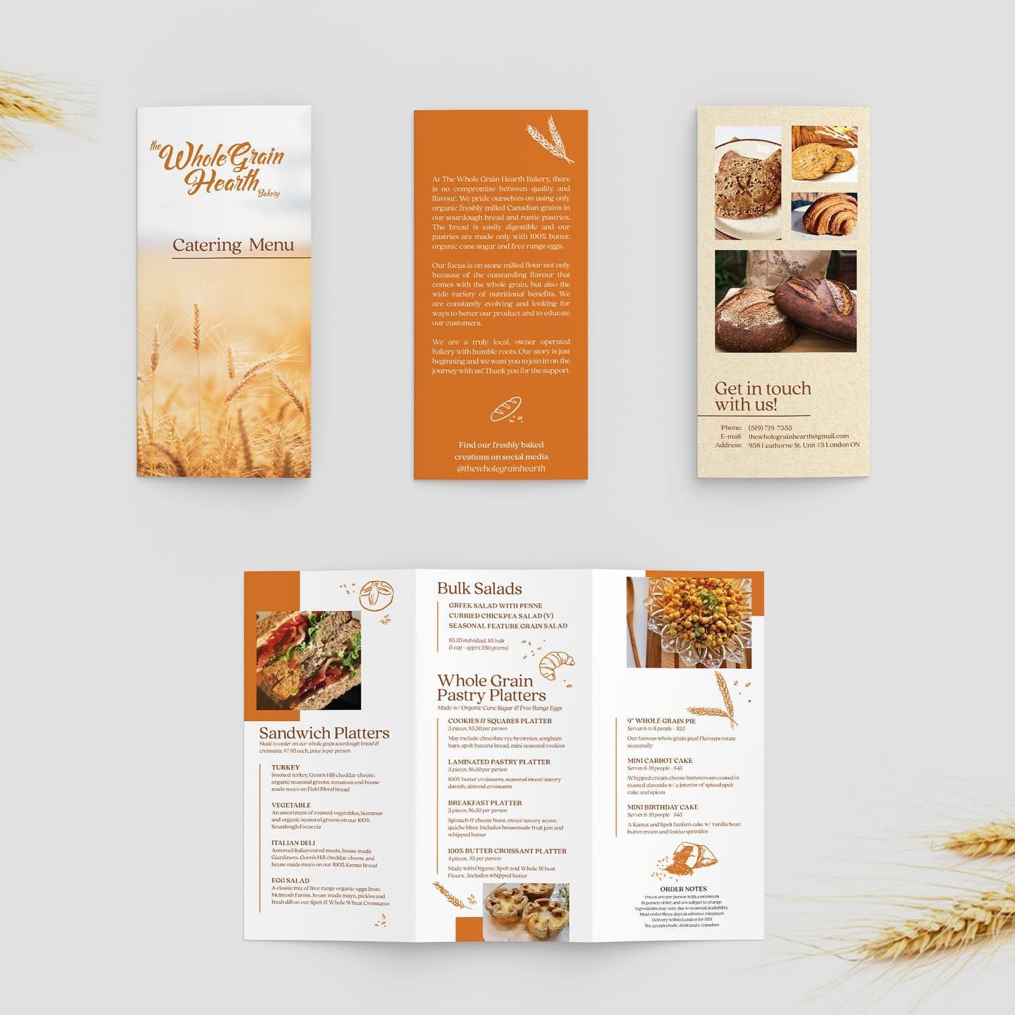 Pamphlet Design For The Whole Grain Hearth Bakery Okay Friends This Is Why I Love What I Do I Get To Connect In 2020 With Images Pamphlet Design Catering Menu Sandwich Platter