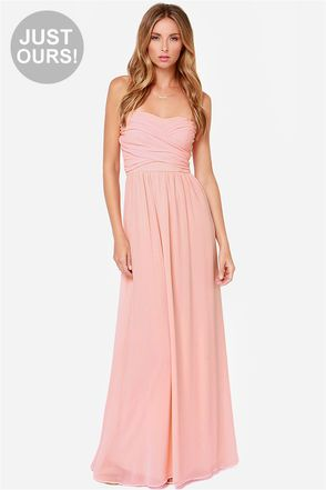 Exclusive Royal Engagement Strapless Peach Maxi Dress | Queen ...
