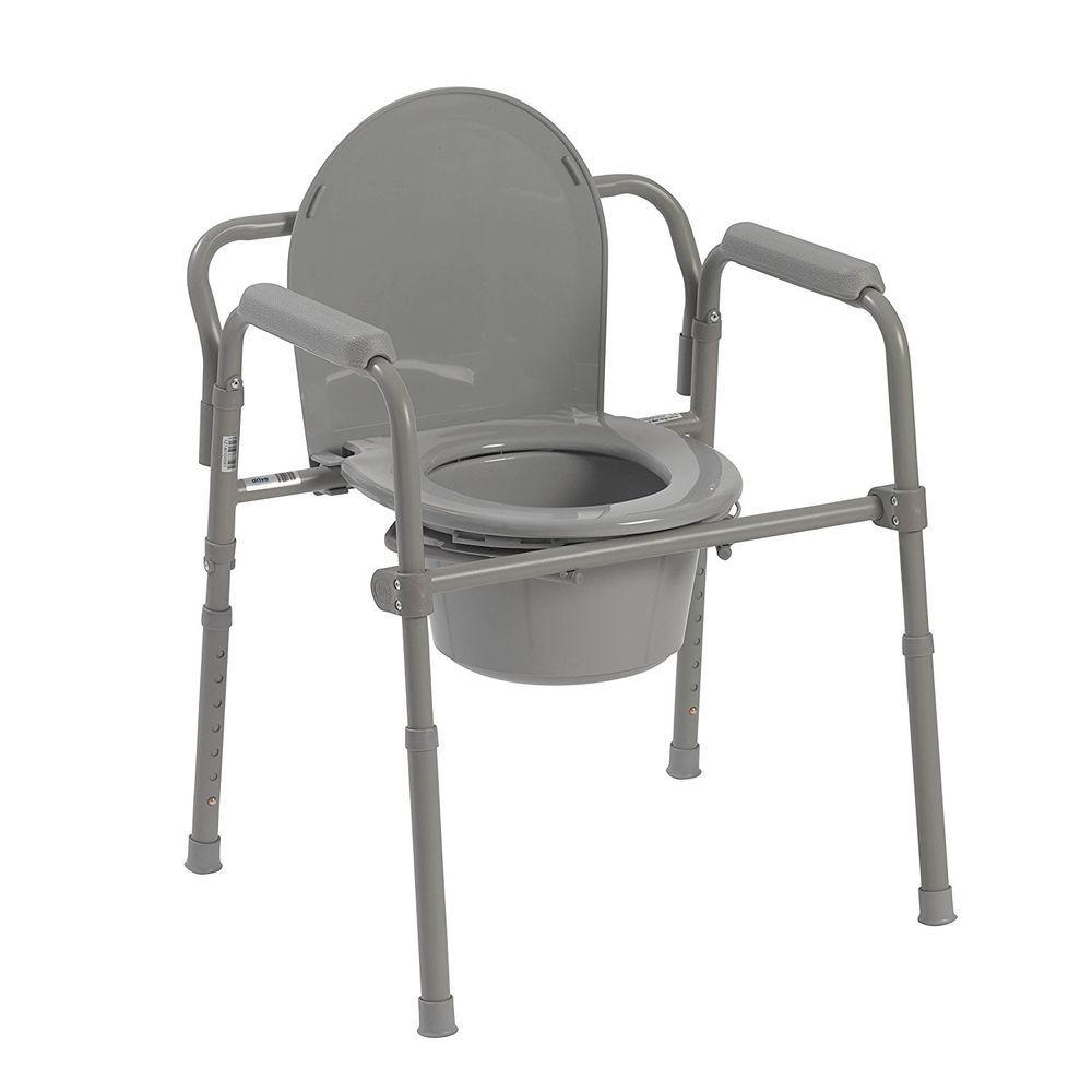 Elderly And Handicapped Safety Bath Folding Steel Bedside Commode ...