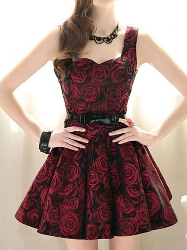 Glamorous Women's Roses Printed Sleeveless Party Dress on buytrends.com    in japan