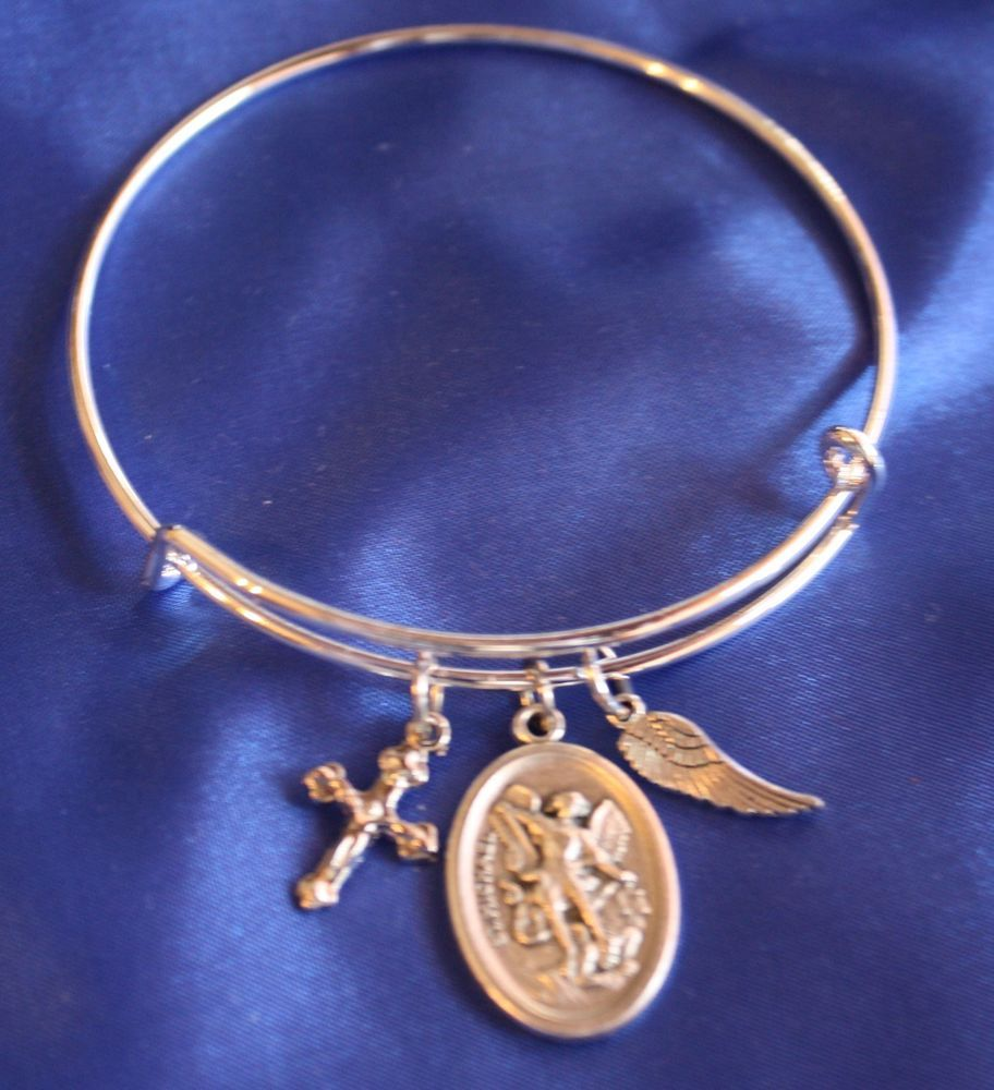 St michael the archangel saint medal wire bangle charm bracelet