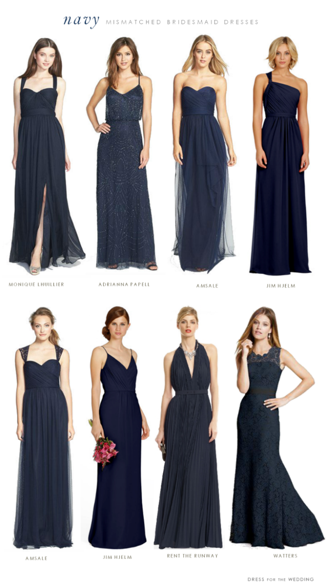 Mismatched Bridesmaid Dresses In Navy Blue Bridesmaids Style
