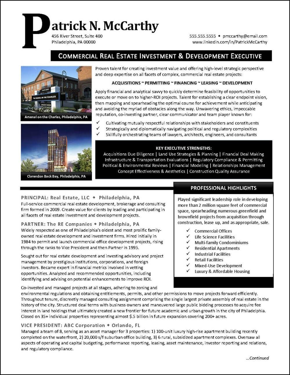Example Executive Real Estate Developer Resume Pg 1 Executive Resume Resume Examples Real Estate