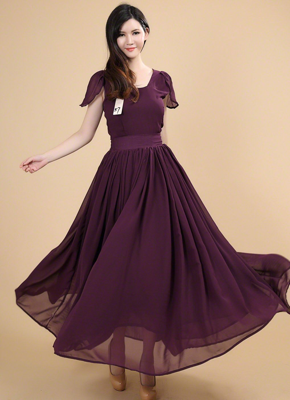 Dark Purple Maxi Length Chiffon Prom Dress with Modest V ...