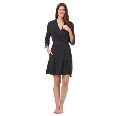 J by Jasper Conran Dark grey jersey lace trimmed dressing gown ...
