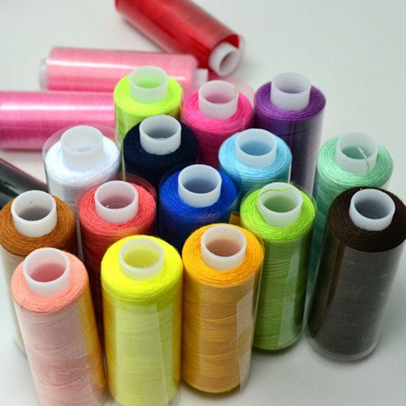 핫! 24 색 재봉사 상자 세트, DIY 또는 수제 폴리 에스테르 스레드 바느질, 한 롤 = 220 미터