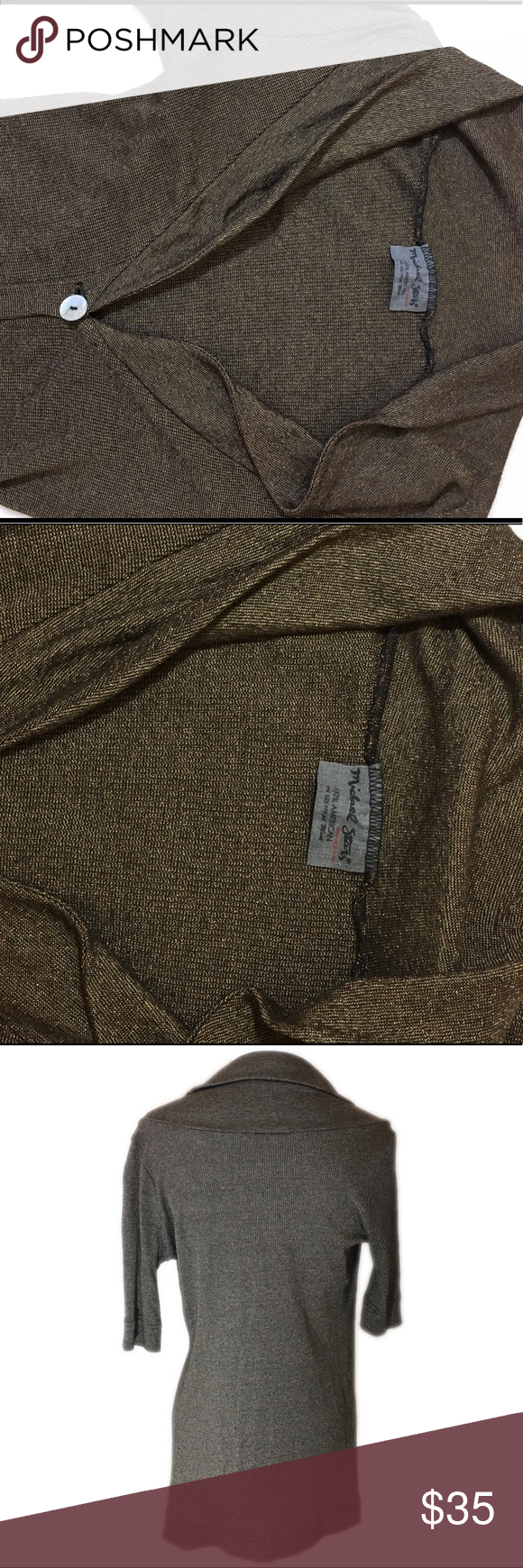 Michael Stars Brown Cardigan Sweater | Black weave, Chocolate ...