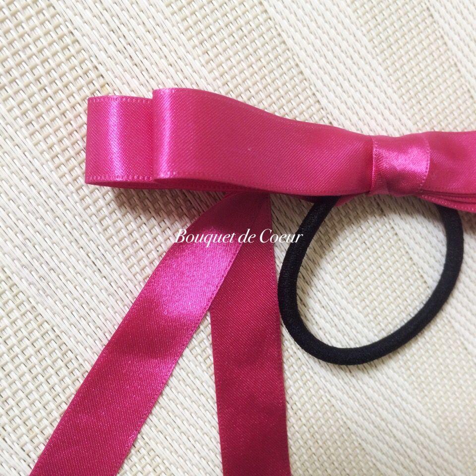 ハンドメイド   サテンロングリボンのヘアゴム♡ ピンク  http://s.ameblo.jp/bouquet-de-coeur/  Handmade satin long ribbon hair accessory. Pink