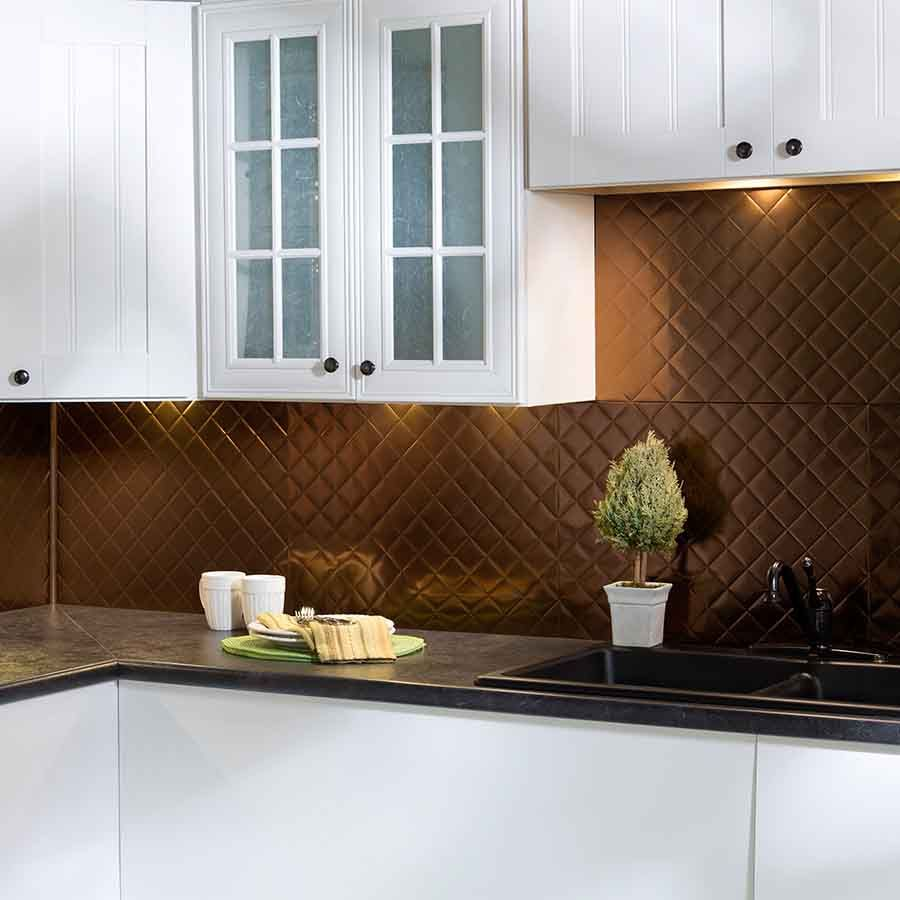 Marvelous Quilted PVC Decorative Backsplash Panel In Oil Rubbed   The Home Depot Images