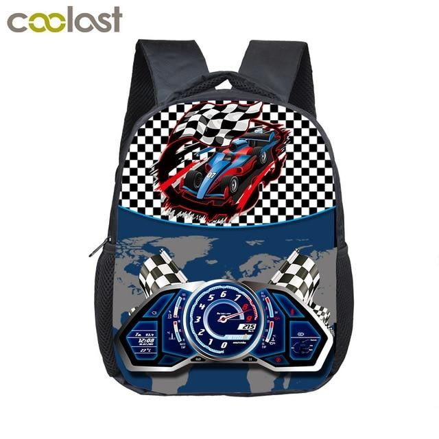 12 inch Kids Racing Car Small School Bags Child cartoon Backpacks Boys  Girls Toddler Bags Children Bookbag Backpack Schoolbags 6fc2eed88d9fa