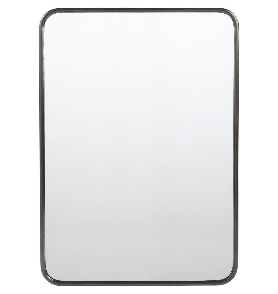 30in X 42in Metal Framed Mirror Rounded Rectangle Aged Brass