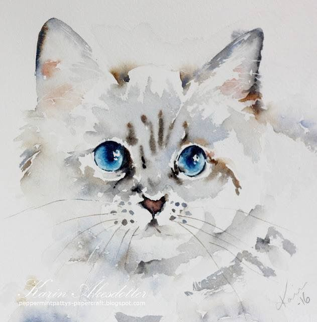 Pin By Sandy Rich On Water Colors Watercolor Cat Watercolor
